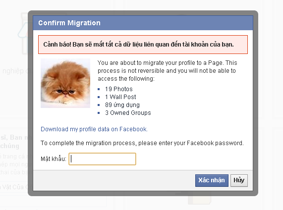 migrate profile to fanpage