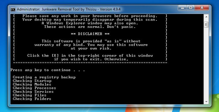 Image of Junkware Removal Tool scanning