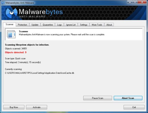 [Image: Malwarebytes Anti-Malware scanning for awardhotspot.com virus]