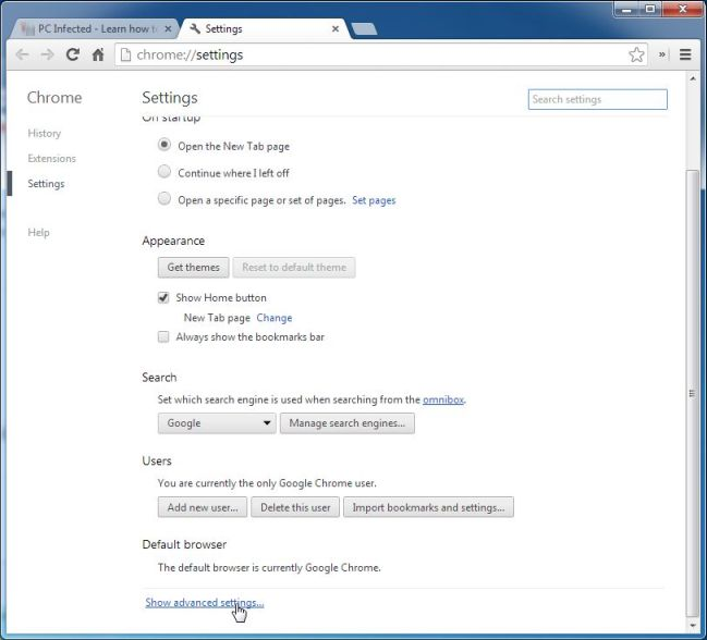 Picture of Show advanced settings in Google Chrome