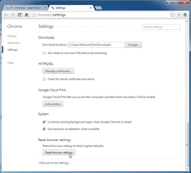 Picture of Reset Browser Settings button in Chrome