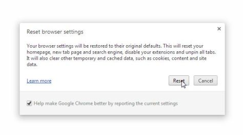 Picture of Revert Chrome to default settings