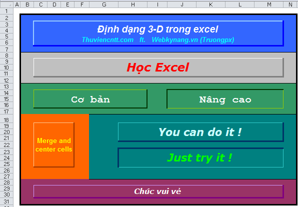 dinh dang 3d trong excel