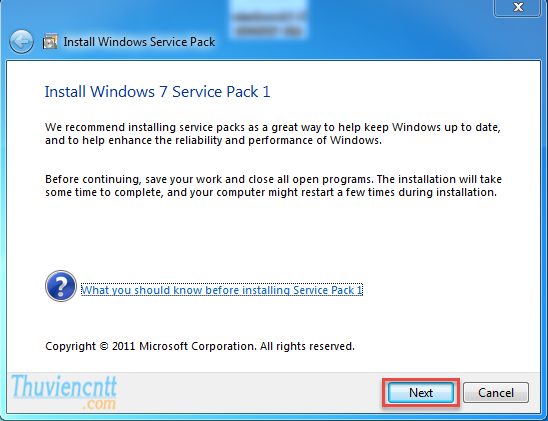Download Windows 7 Service Pack 1 (SP1) - Cài đặt SP1 windows 7 32 bit 1